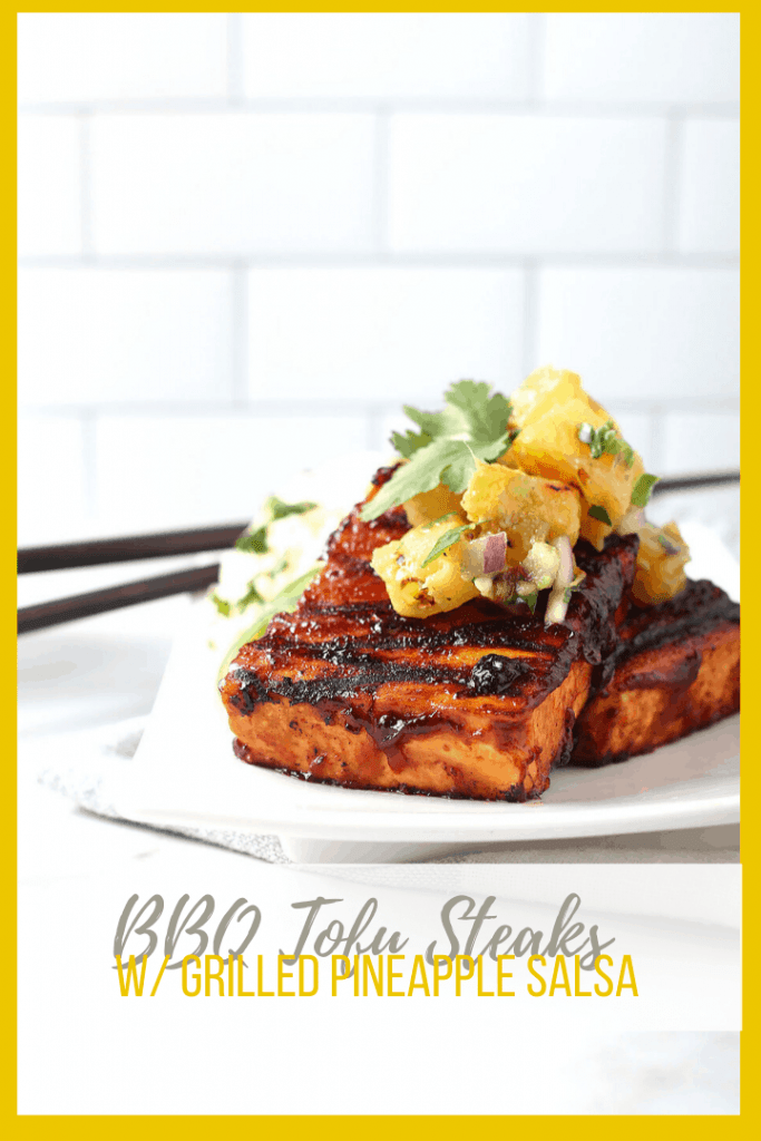 Jump into summer with these BBQ Tofu Steaks with Grilled Pineapple Salsa. It's the perfect grillable recipe that combines the sweetness of BBQ sauce with spicy jalapeños and zesty pineapple. A delicious vegan and gluten-free meal.