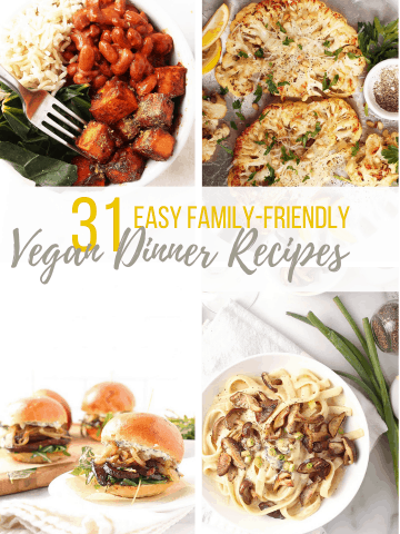 Collage of 4 vegan dinner recipes