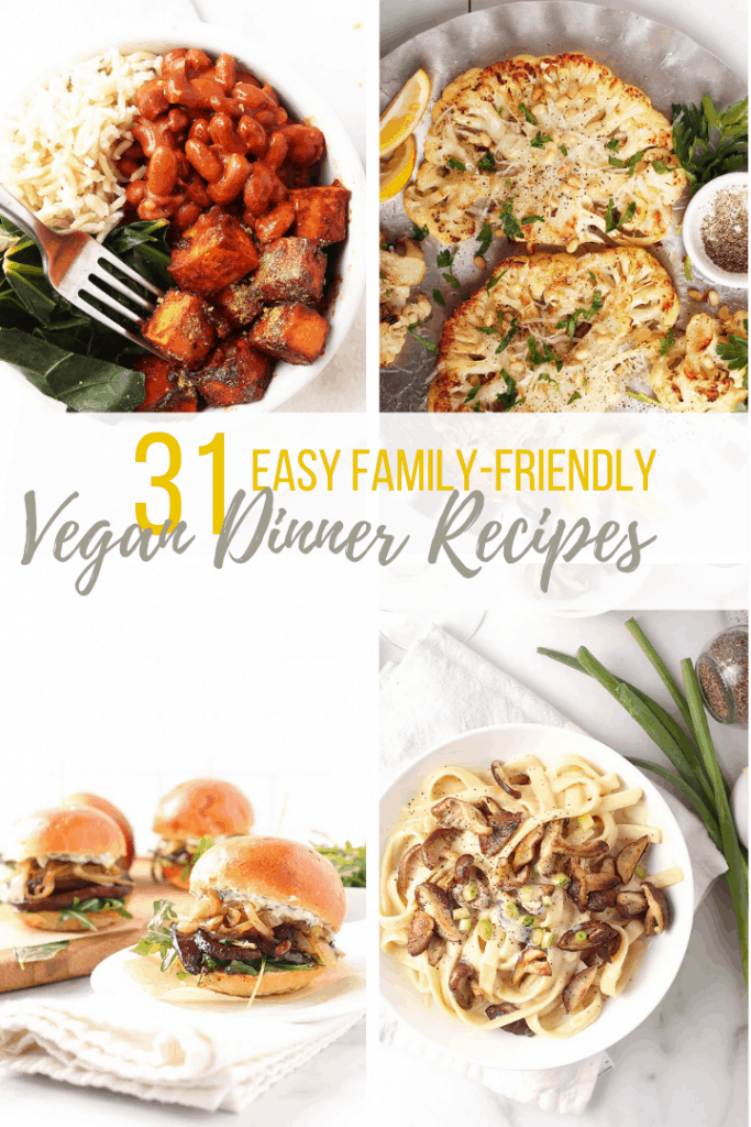 Collage of 4 vegan dinner recipes