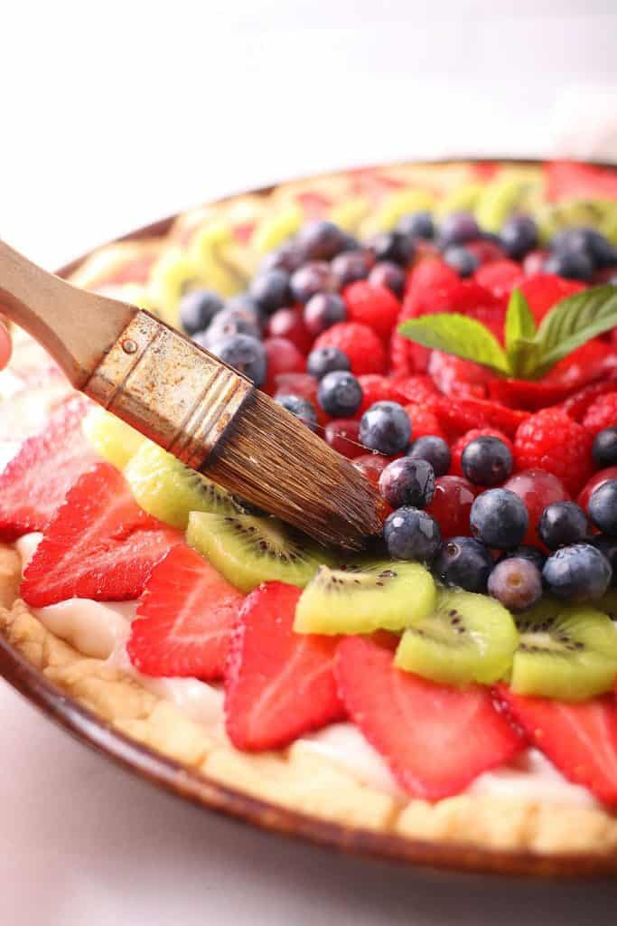 Fruit tart brushed with simple syrup