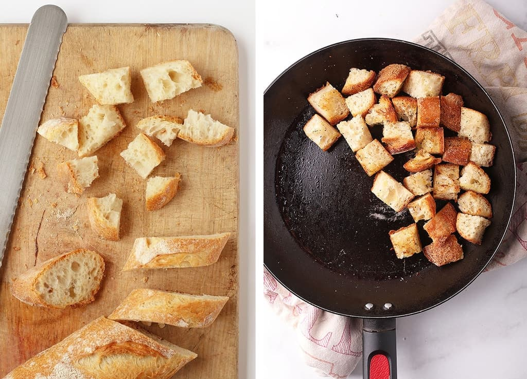 Baguette cut into cubes and sautéed