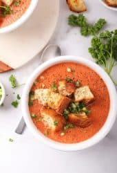 Bowl of gazpacho with homemade croutons