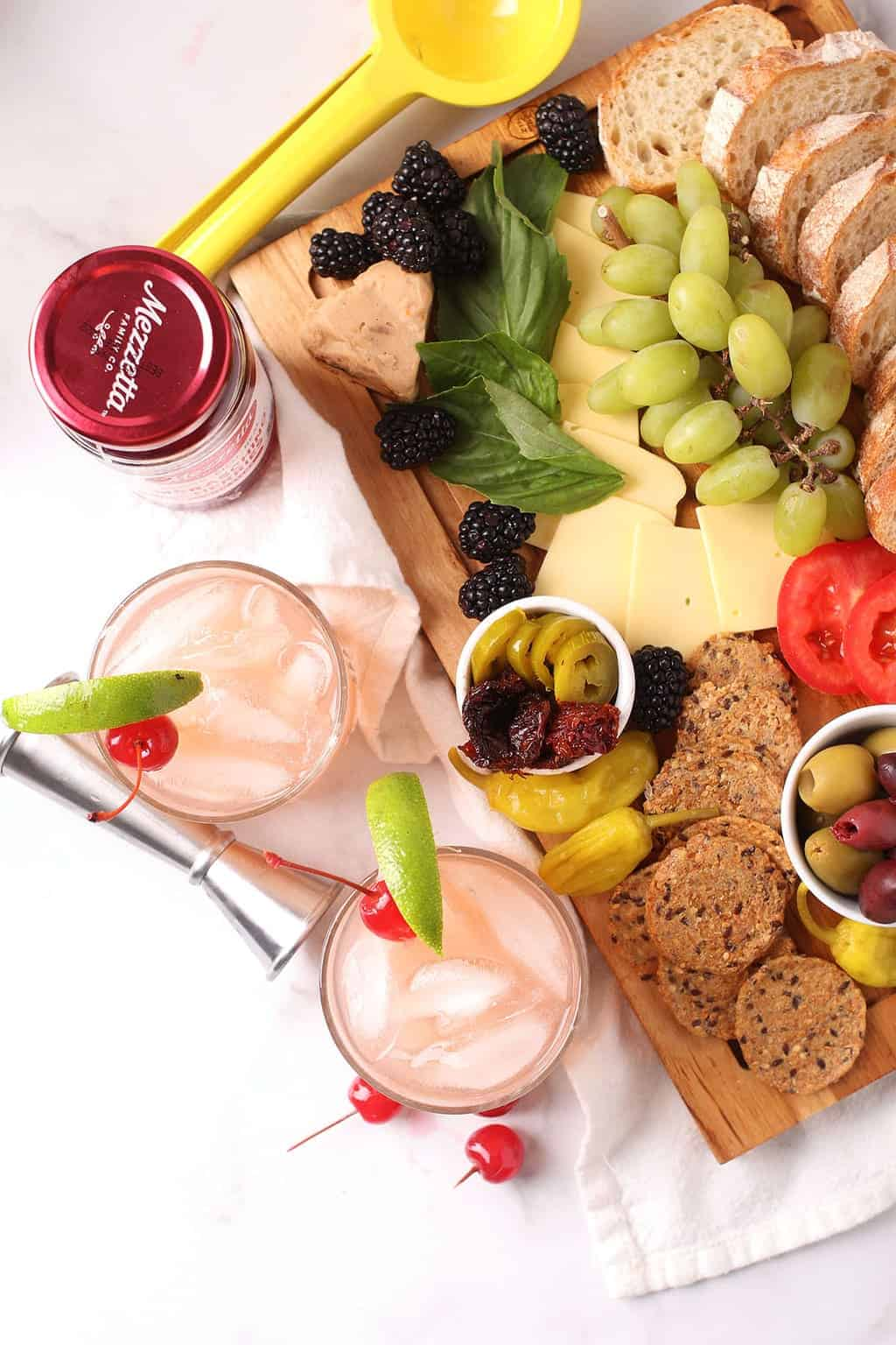At home happy hour with cocktails and snacks
