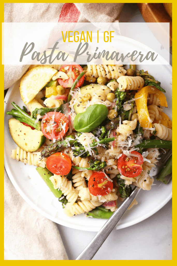 Vegan Pasta Primavera! It's a light and refreshing pasta dish made with fresh spring vegetables and Fusilli pasta tossed with fresh lemon juice, vegan parmesan cheese, and salt and pepper. Made in under 20 minutes!