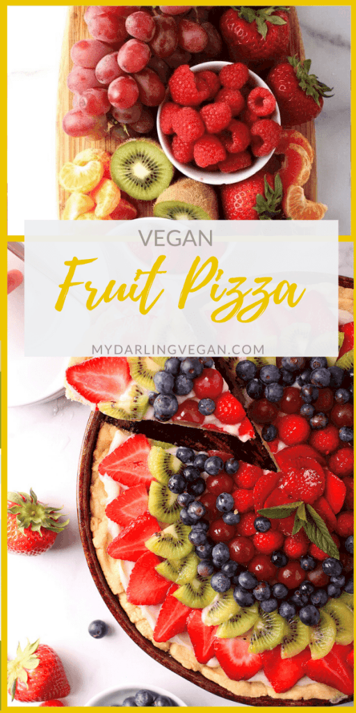 Vegan Fruit Pizza! It is made with a buttery, melt-in-your-mouth sugar cookie crust, topped with sweet cream cheese filling, and finished with fresh fruit for the perfect summertime dessert.