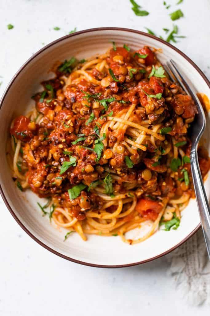 Lentil Bolognese over pasta