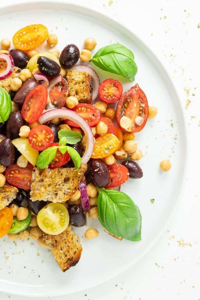 Panzanella Recipe on a white plate
