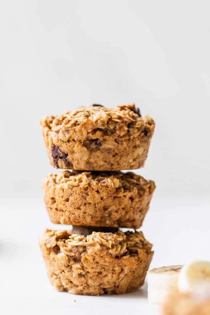 Stack of three baked oatmeal cups