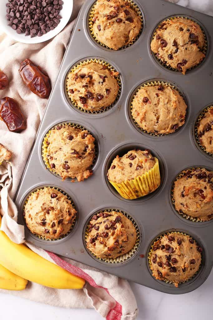 Baked muffins in a muffin tin