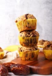 Stack of three vegan banana muffins