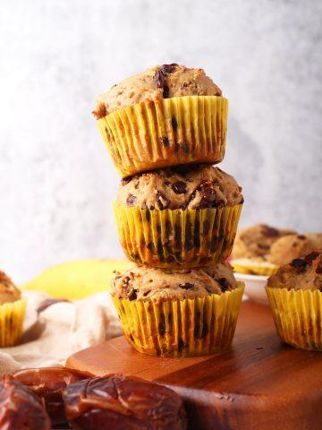 Stack of three vegan banana muffins
