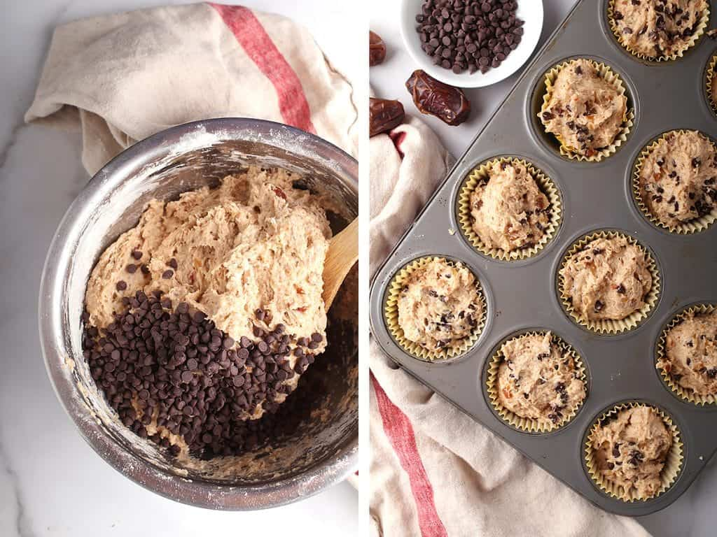 Muffin batter scooped into muffin tins