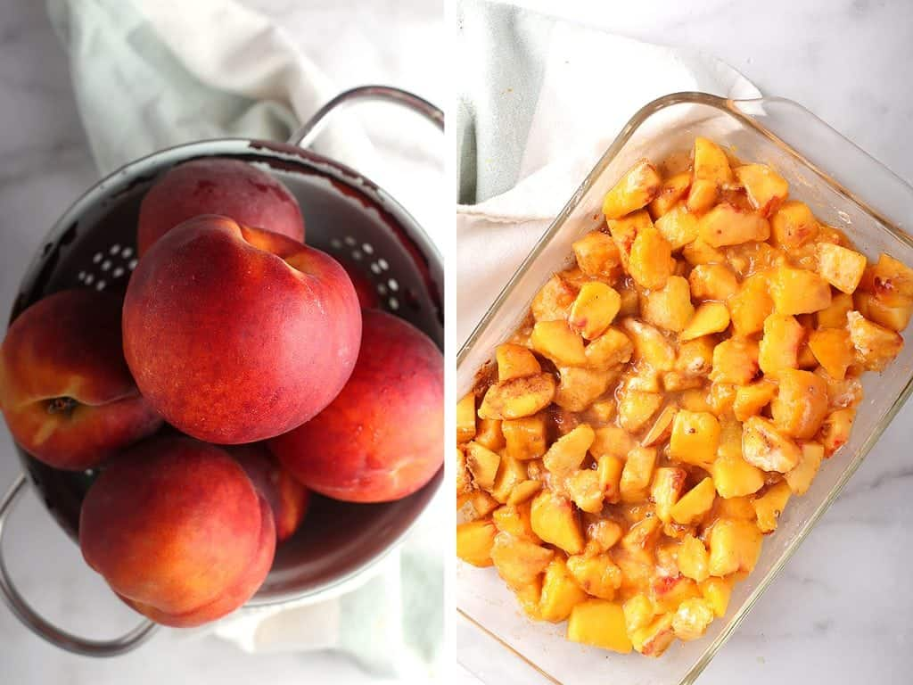 Fresh peaches chopped up and placed inside a glass casserole dish