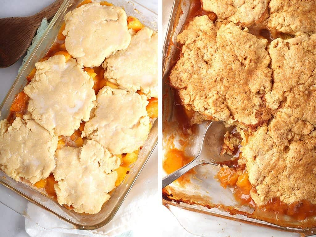 Baked cobbler fresh out of the oven.