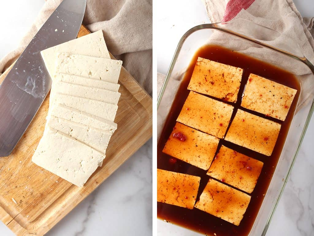 Thinly sliced and marinated tofu
