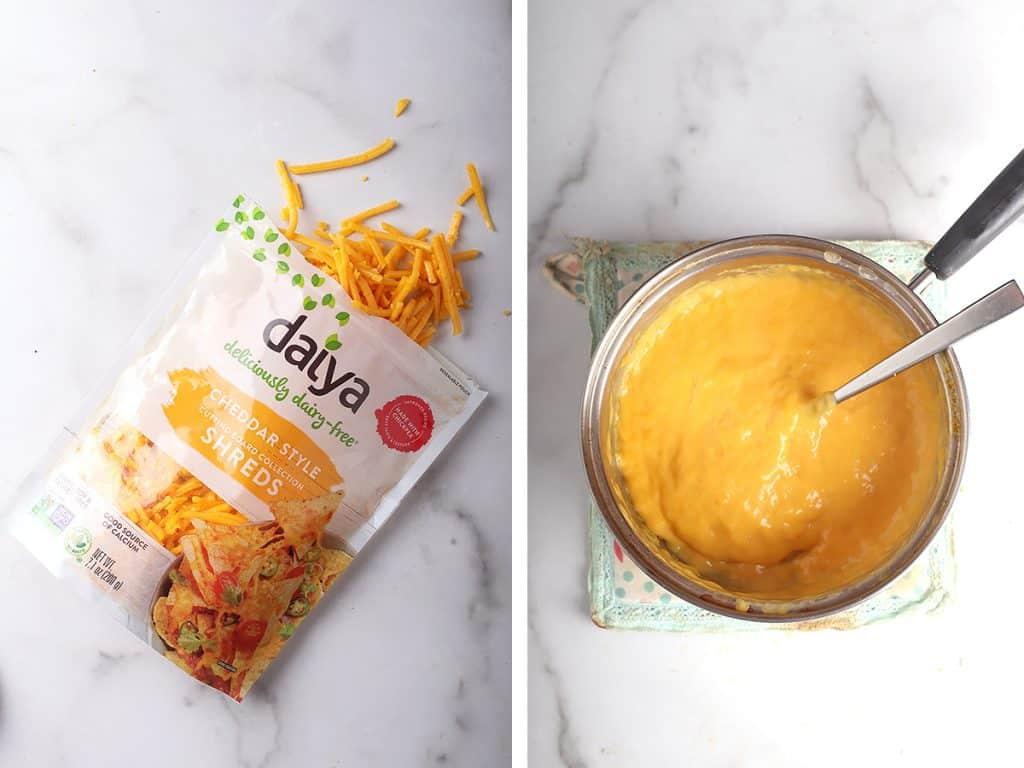 Daiya cheese and homemade cheese sauce