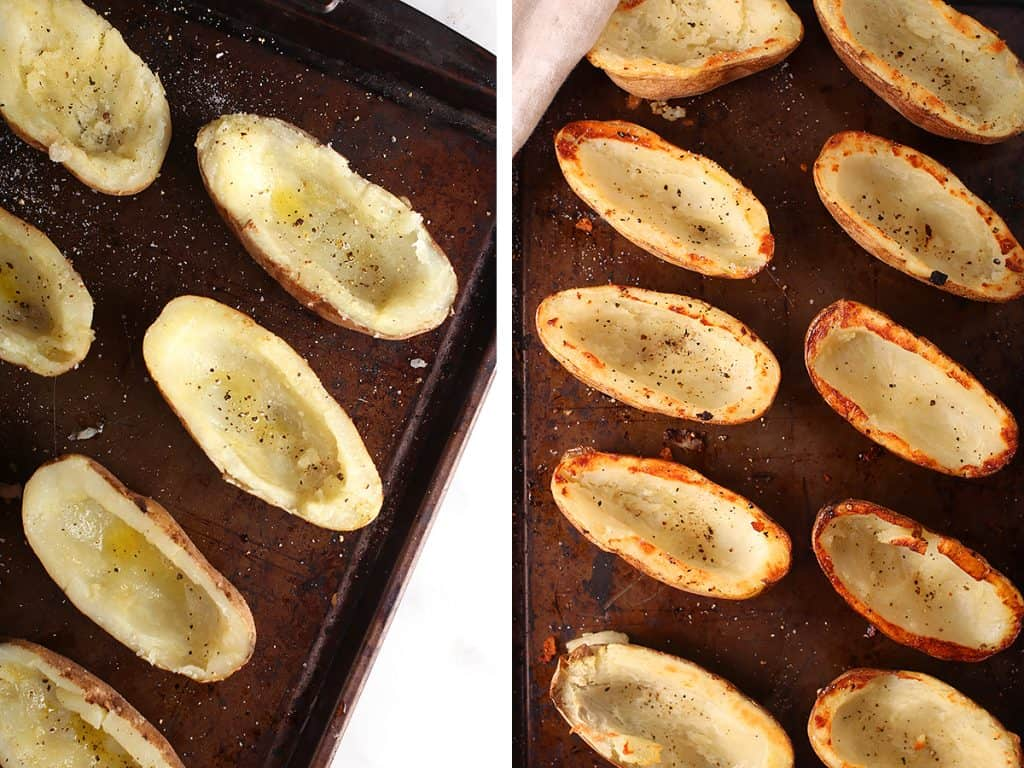 Halved and hallowed potatoes on a sheet pan