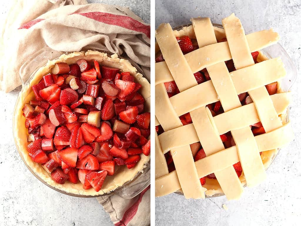Strawberries and rhubarb inside an unbaked pie crust