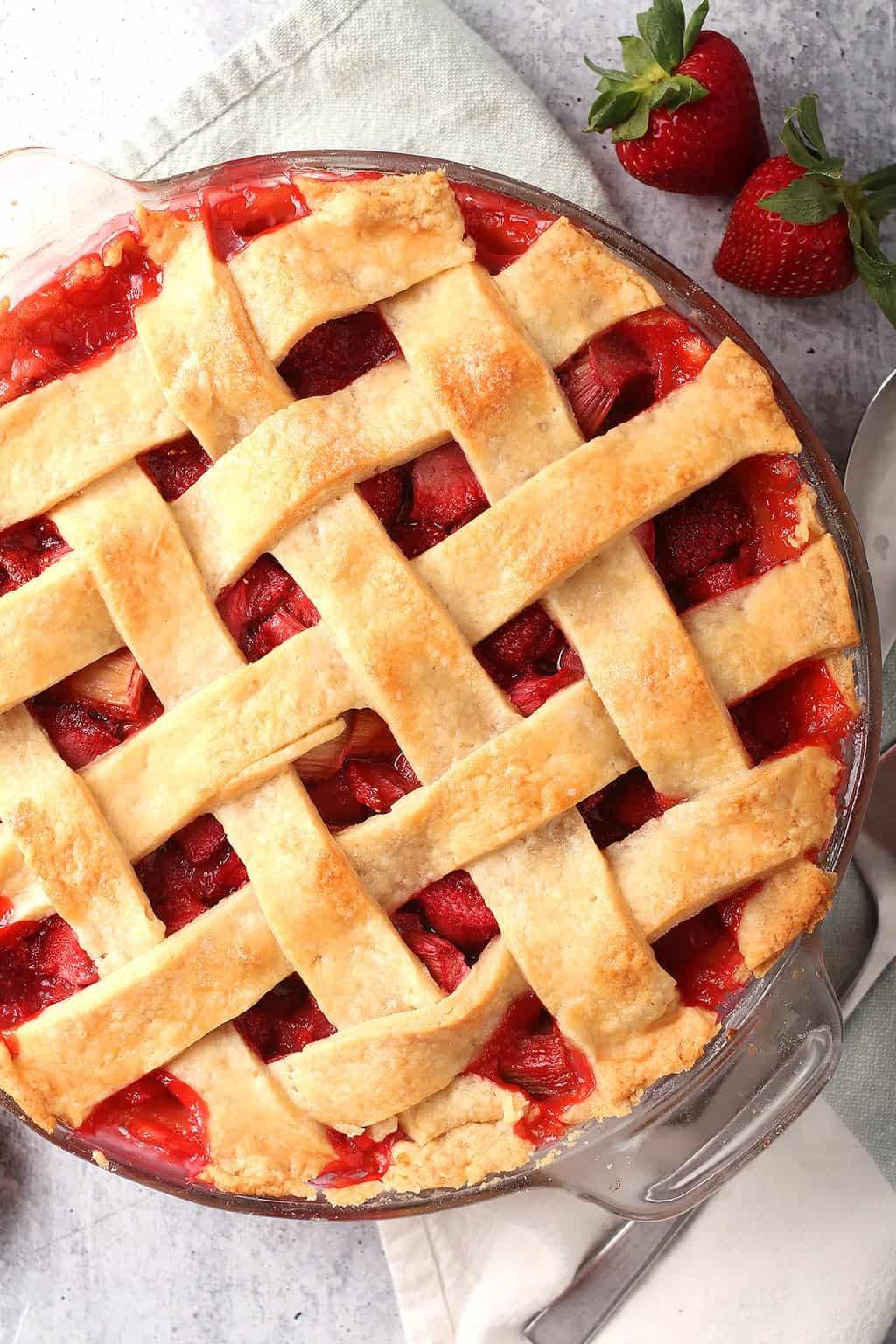 Whole Strawberry Rhubarb Pie