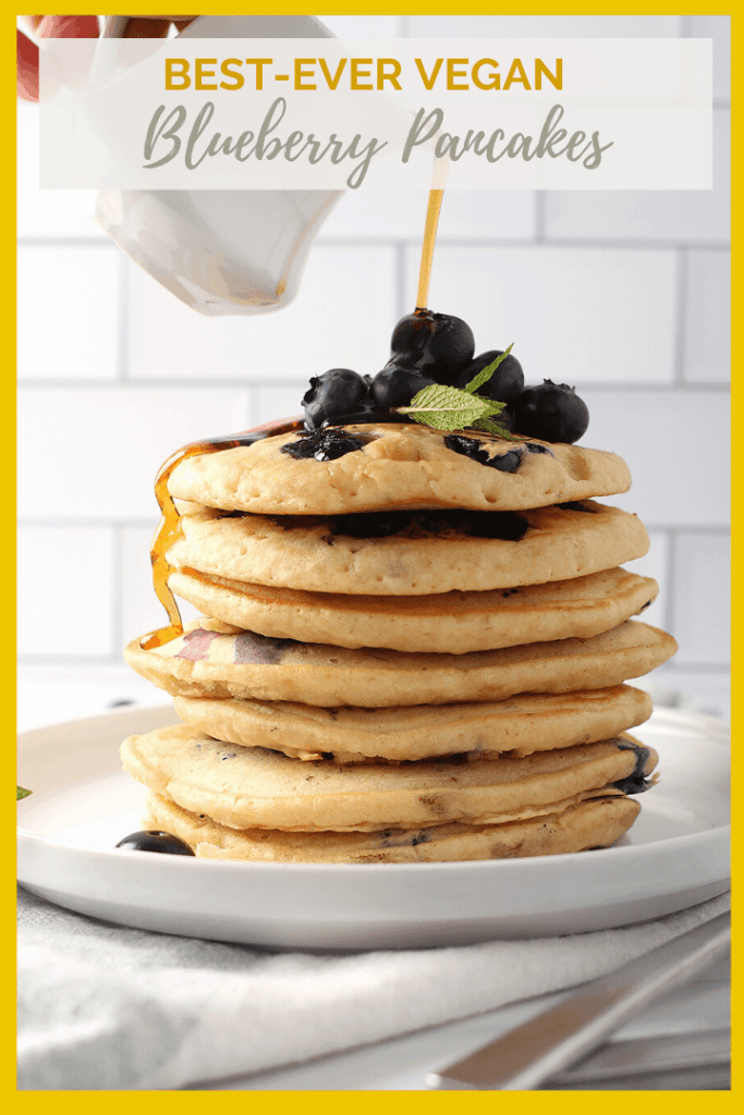 Wake up to these easy Vegan Blueberry Pancakes. Light, fluffy, and slightly sweetened with maple syrup, this is a breakfast worth getting out of bed for. Ready in 10 minutes.