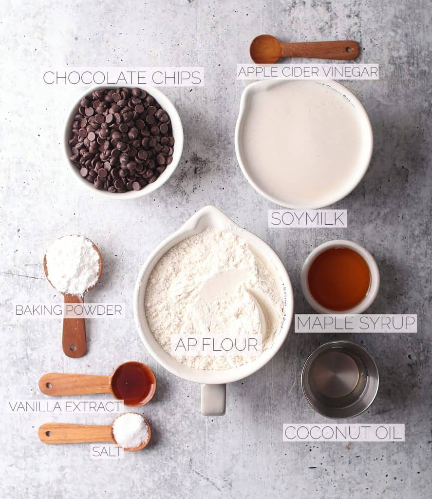 Ingredients for pancakes on a concrete countertop
