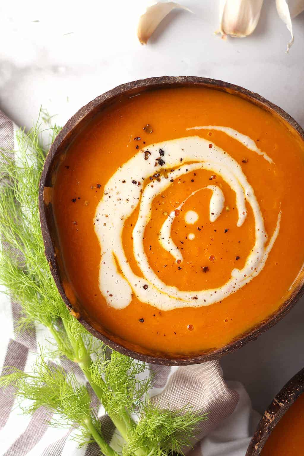 Bowl of Vegan Carrot Soup with cashew cream