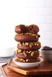 Stack of vegan chocolate donuts