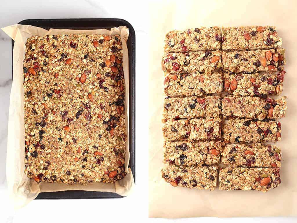 Vegan granola bars pressed into a baking sheet