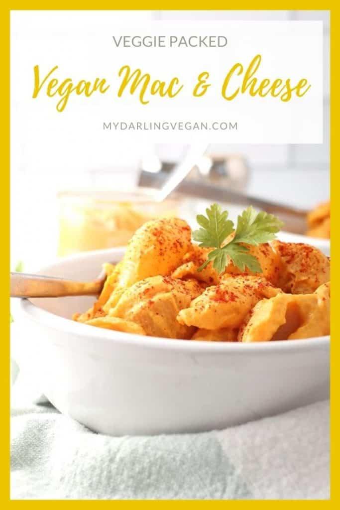 Vegan Mac & Cheese in a white bowl