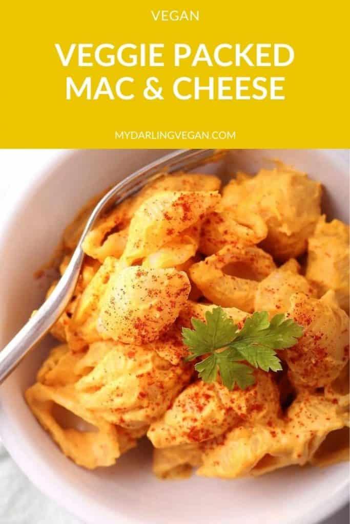 Vegan Mac & Cheese close up in a white bowl