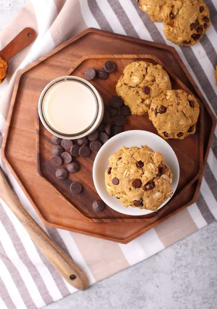 Finished cookies on a wooden platter