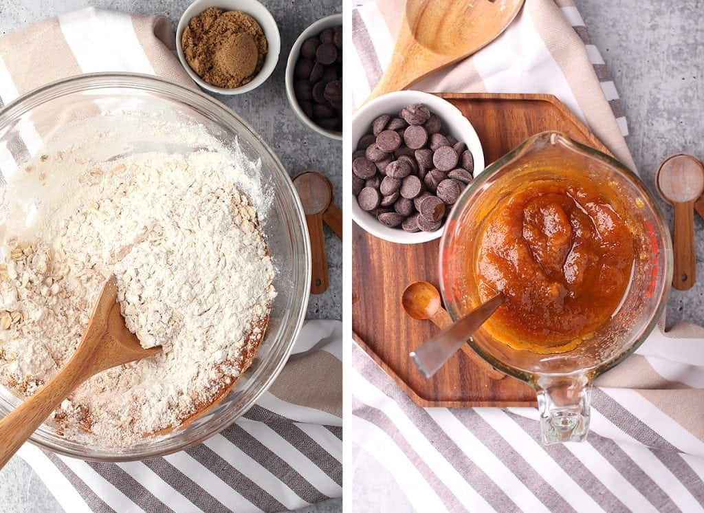 Wet and dry ingredients for cookie recipe