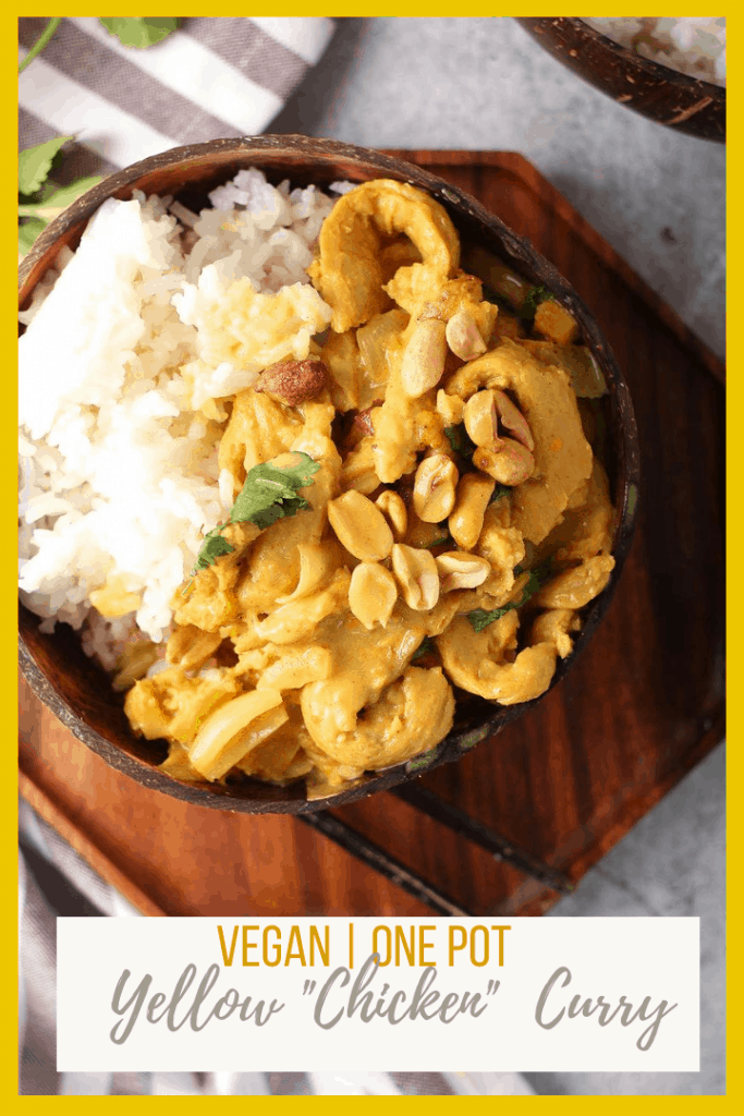 Enjoy this delicious and easy Vegan Yellow Curry tonight! This recipe uses soy curls for an incredible chicken replacement that 100% vegan! Made in just one pot in under 30 minutes for a better-than-takeout family dinner.