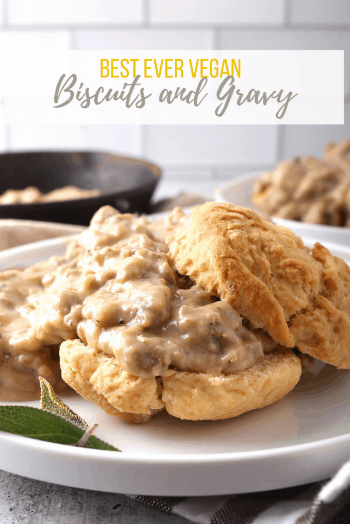 Vegan biscuits and gravy combine tender, flaky buttermilk biscuits and the best plant-based gravy ever! It's a vegan version of classic biscuits and sausage gravy you'll absolutely love. Make the biscuits in advance for a quick and satisfying vegan brunch.