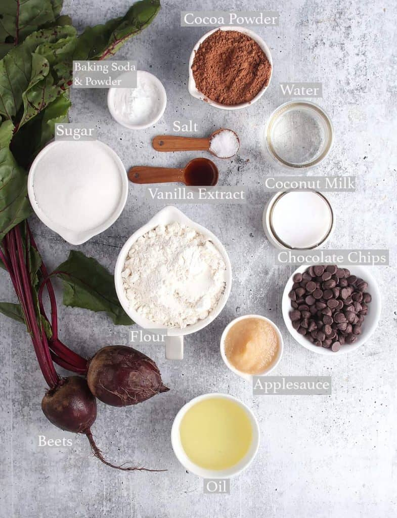Ingredients for bundt cake on a concrete countertop