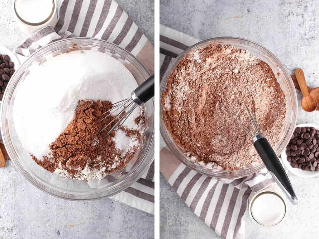 Flour, sugar, and cocoa powder in a large glass bowl