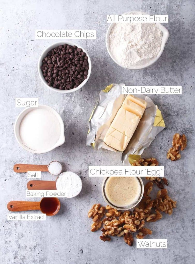 Ingredients for vegan scones on a concrete countertop