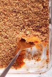 Finished sweet potato casserole in a glass casserole dish