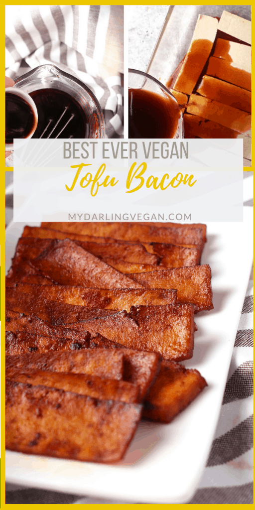 Vegan tofu bacon is a delicious alternative to traditional bacon with all the flavors you'd expect from bacon. You can add these tasty strips to your favorite salad, soup, or breakfast sandwich.