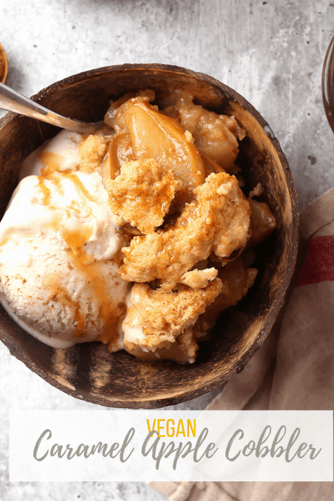 Made with tart green apples and swirled with sweet caramel sauce, this sweet and tart vegan apple cobbler celebrates the flavors of fall. It's a classic vegan dessert perfect for this time of year