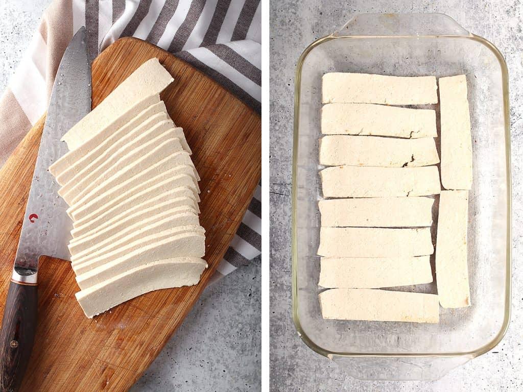 Block of tofu cut into thin strips