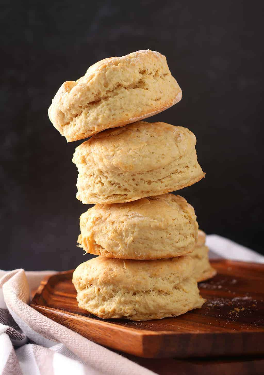 Stack of finished biscuits with a black background