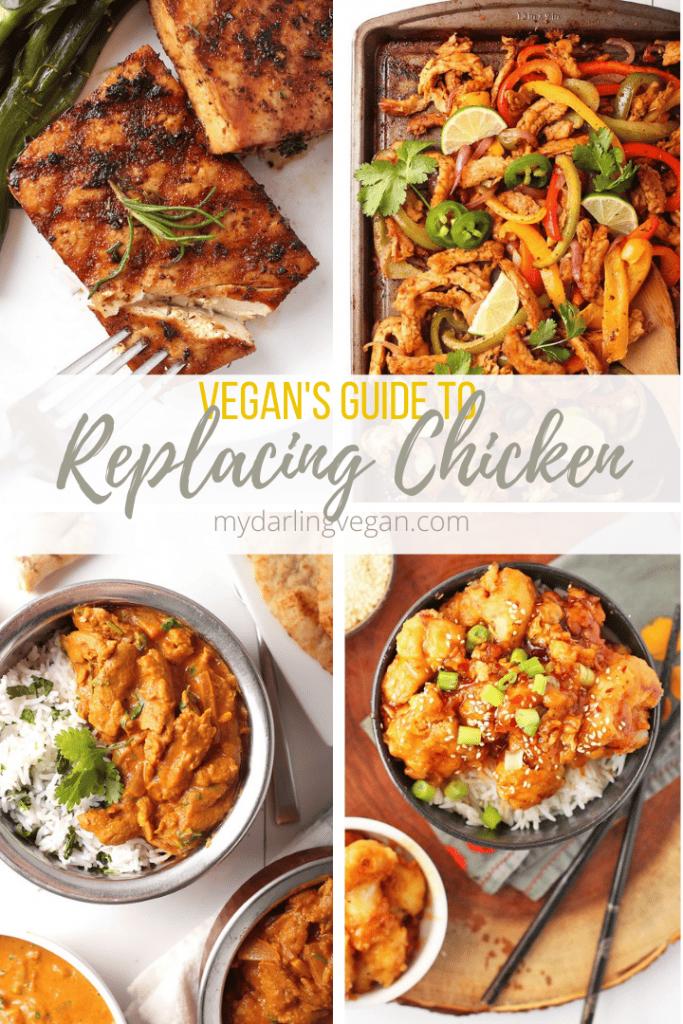 4 Part collage of vegan chicken recipes