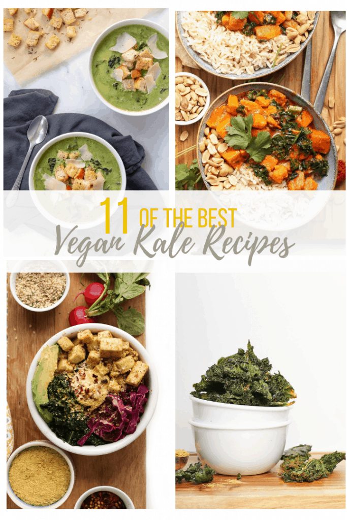 Four kale recipes in a collage