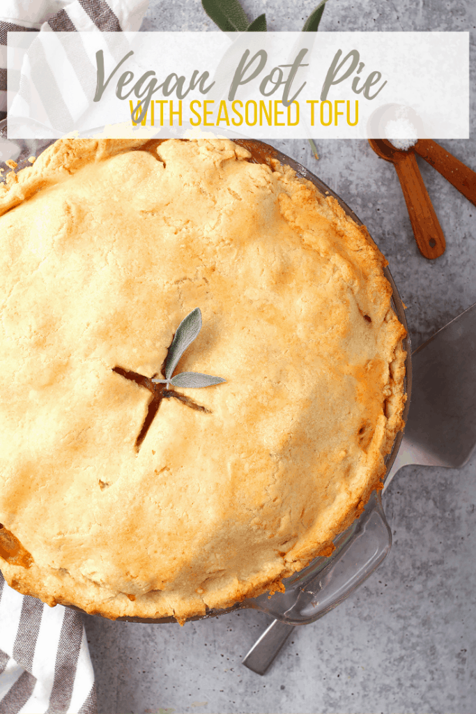 You're going to love this Vegan Pot Pie recipe! It is made with seasoned tofu, carrots, peas, and potatoes and baked in a flaky pie crust for a delicious cold-weather dinner the whole family will love.