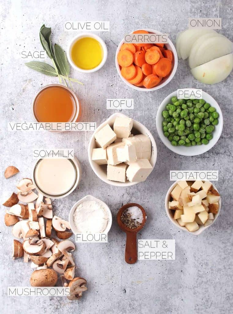 Ingredients for vegan pot pie on a concrete countertop