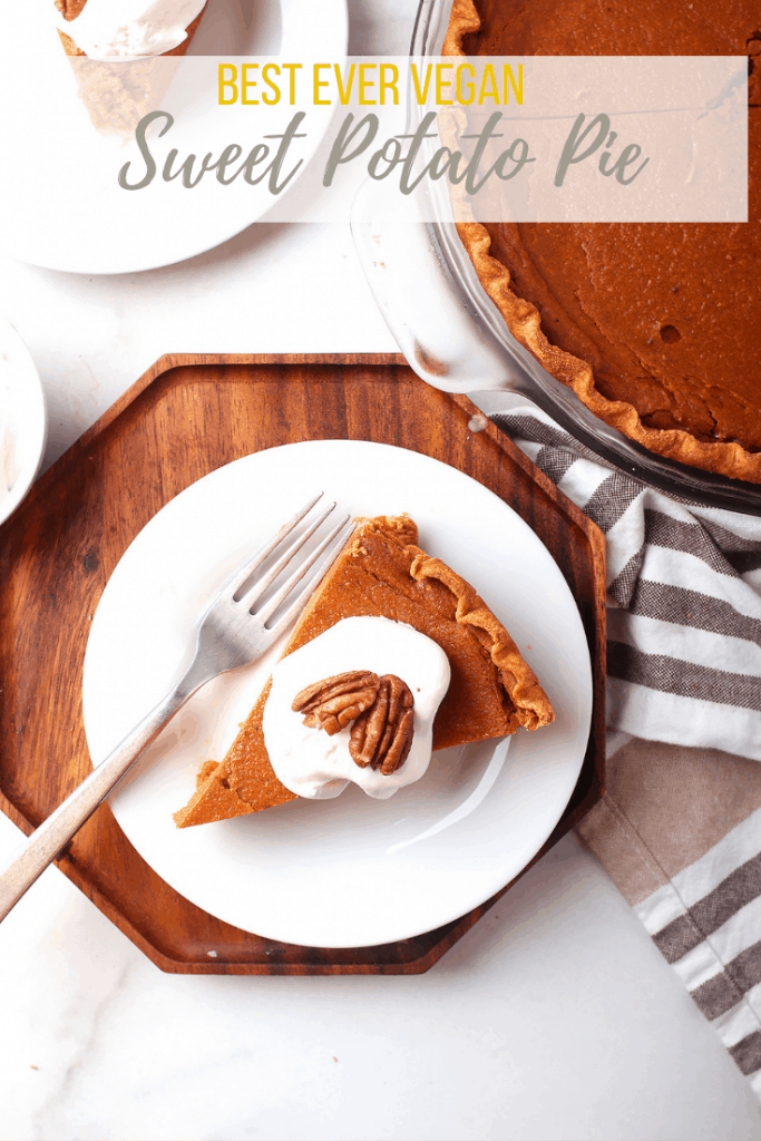 This vegan sweet potato pie is so rich and creamy, no one will believe it's vegan. The filling can be made in a food processor for a quick and easy fall dessert the whole family will love.