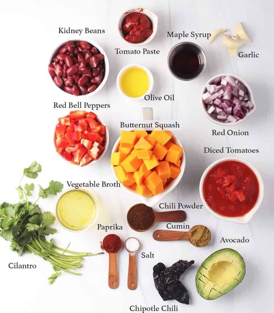 Ingredients for vegan chili on a marble background