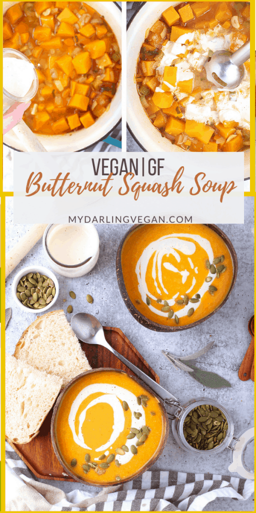 Vegan butternut squash soup is a rich, plant based classic fall soup. Full of warming spice and loaded with decadent cashew cream, you'll love diving into this cozy dish on a chilly day.