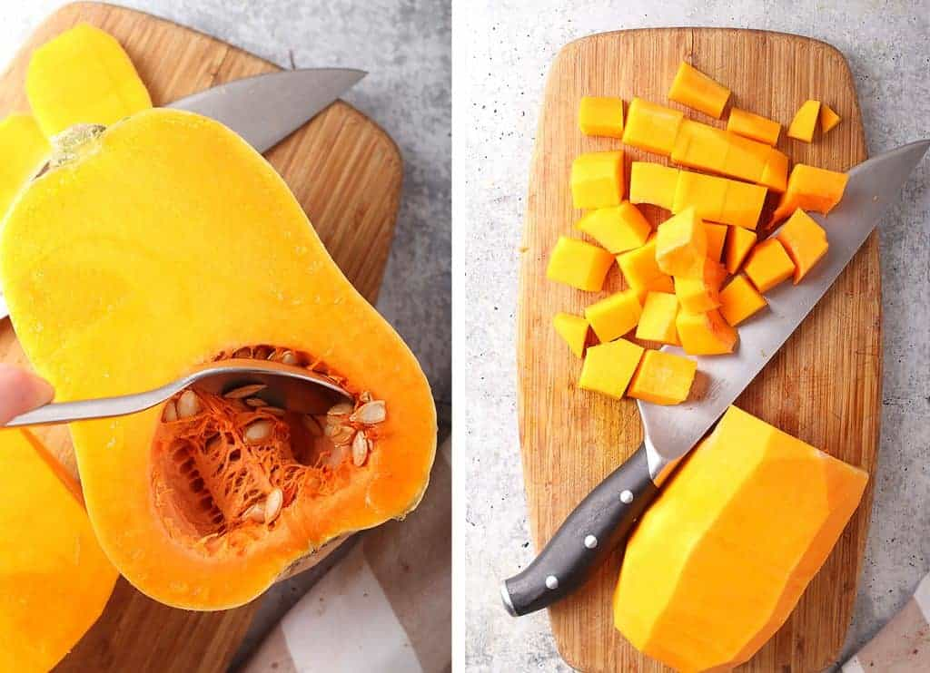 """Butternut squash halved and cut into 1"""" cubes"""